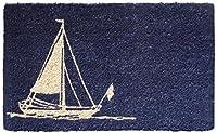 Entryways Sailboat Hand Woven Coir Doormat, 18 by 30-Inch ドア マット