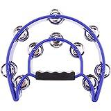 ノーブランド品  5色選ぶ ハンドヘルド タンバリン ダブルローリング メタルジングル パーカッション  - 青