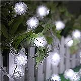 Yartar イルミネーション LED ストリングライト 80球 10m 電池式 タンポポ型 屋内/屋外/パーティー装飾 (白)