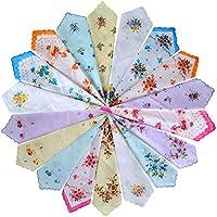 MarJunSep 18 Pieces Women's Vintage Floral Print Cotton Colorful Ladies Handkerchiefs Hankies
