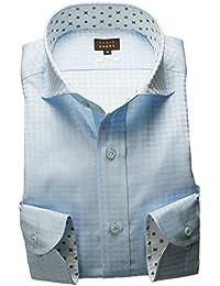 RSD248-002 (スタイルワークス) メンズ長袖ワイシャツ カッタウェイ ワイドカラー チェック | 青
