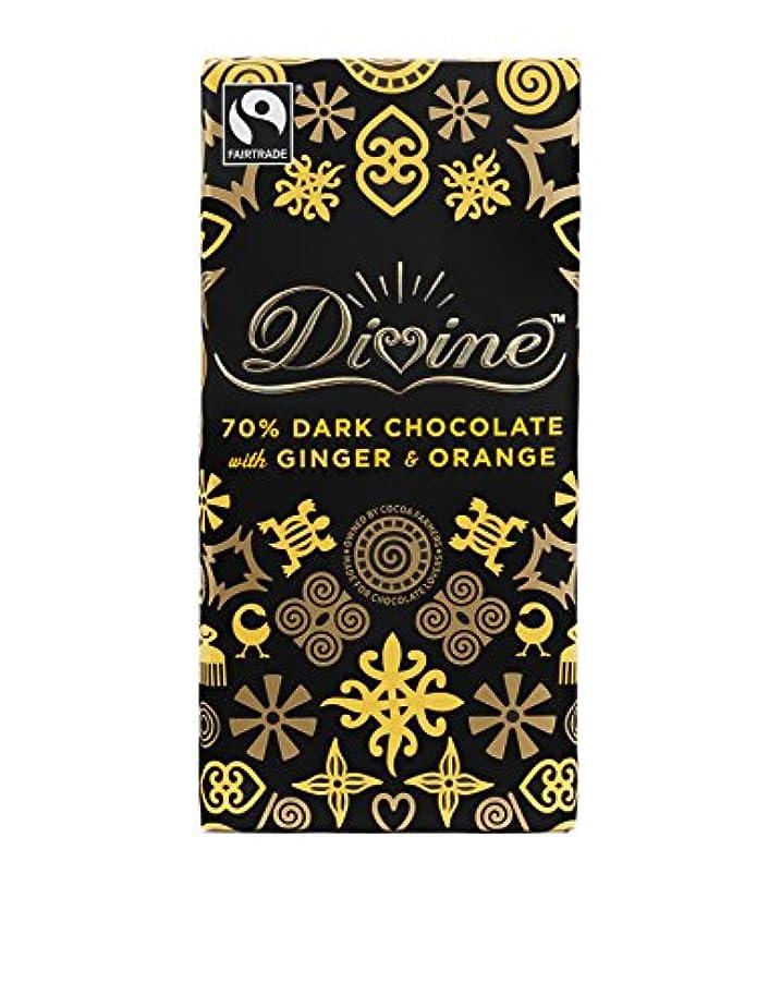 同情的ストローク健康的【フェアトレード】 イギリスDivine社製 70%ダークチョコレート with ジンジャー&オレンジ 100g