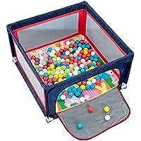 BSNOWF-ベビーサークル ポータブル折り畳み式赤ちゃんプレイヤード、100ボールとクロールマット付きの幼児用プレイパッド、安全児童用ゲームフェンス、120×120×70cm (色 : 青)