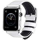 Apple Watch バンド ベルト Fullmosa® Apple Watch Series 1 Series 2 バンド 本革レザー ベルト交換用ラグ付き アップルウォッチ、ホワイト42mm