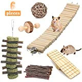 Hamster Chewing Toys, Guinea Pig Chinchilla Natural Wooden Dumbbells Exercise Bell Roller Stick Seesaw Swing Teeth Care Chew Molar Toy Accessories for Gerbil Rat Rabbit Bird Bunny