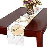 GGSXD テーブルランナー 面白い カバ クロス 食卓カバー 麻綿製 欧米 おしゃれ 16 Inch X 72 Inch (40cm X 182cm) キッチン ダイニング ホーム デコレーション モダン リビング 洗える