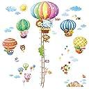 DECOWALL 動物熱気球 高さくらべ 動物熱気球 ウォール ステッカー デコ 身長ステッカー DA-1606N1406B