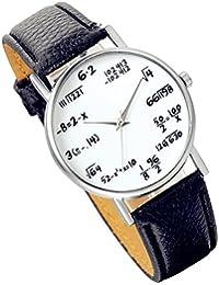 Lancardo 腕時計 ガールズ 学生 防水 ウォッチ 数学記号 レザーベルト シンプル クォーツ 腕時計 女の子 ブラック