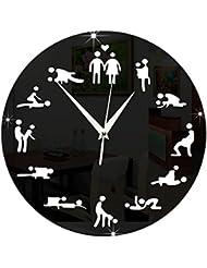 ACAMPTAR モダンなデザイン、セックスポジション ミュート掛け時計、ベッドルームの壁の装飾用、サイレントクロック、時計、結婚の贈り物、壁掛け時計、黒色
