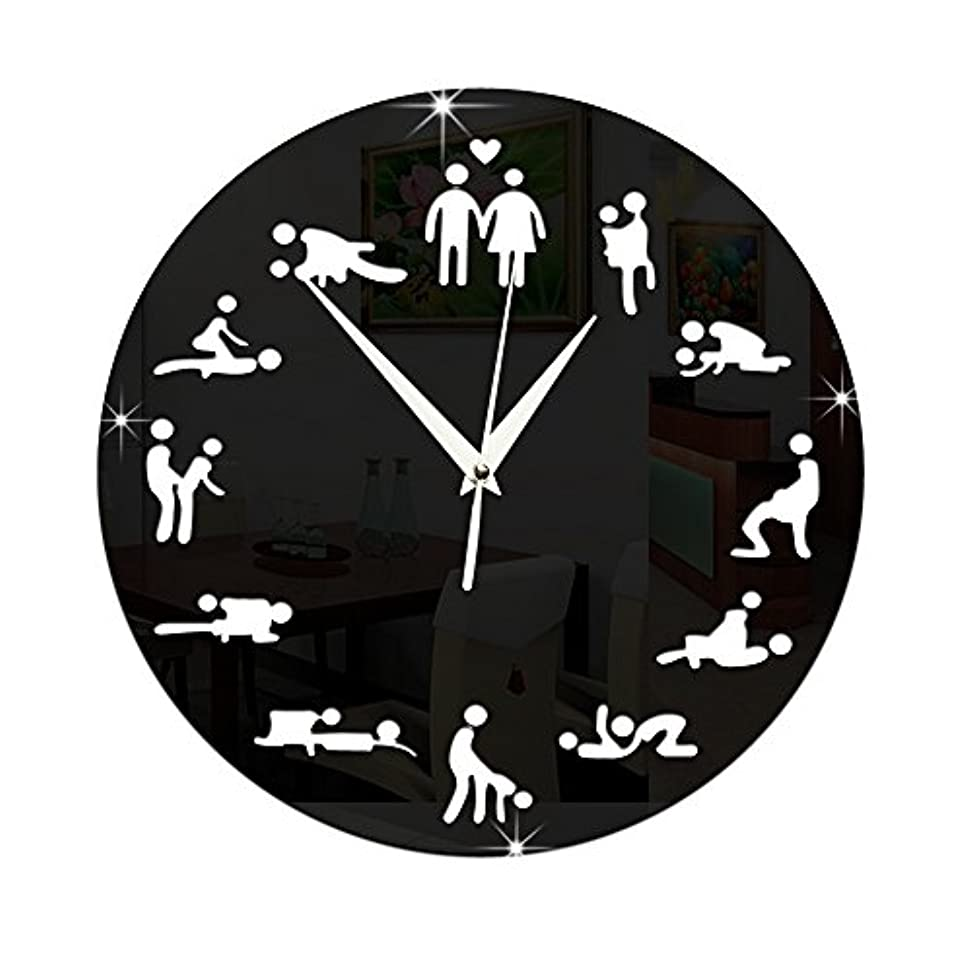 ラフ睡眠承知しましたプラスACAMPTAR モダンなデザイン、セックスポジション ミュート掛け時計、ベッドルームの壁の装飾用、サイレントクロック、時計、結婚の贈り物、壁掛け時計、黒色