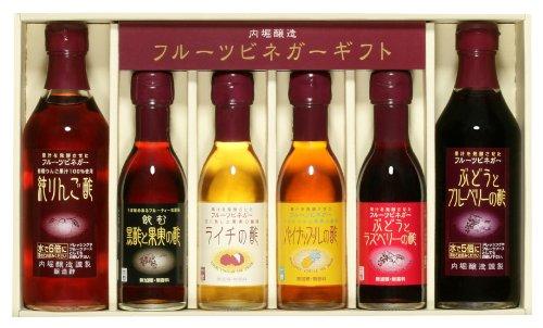 内堀醸造 フルーツビネガーバラエティセット (純りんご 黒酢と果実 ライチ パイナップル ぶどうとラズベリー ぶどうとブルーベリーの酢) (360ml×2本、150ml×4本)