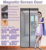 """FitLife マグネットスクリーンドア フルフレーム ベルクロ 高耐久メッシュが高いドアにフィットします サイズは最大で34""""x95"""" です 62''x81'' - Fits doors up to 60''x80'' Max TFL-ScreenDoor-Black"""
