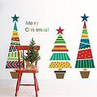 ZooArts クリスマスツリー ウォールステッカー カラフル 綺麗 クリスマス 飾り Merry Christmas 雰囲気満点 北欧風 子供部屋 デパート 店舗 ショーウインドウ ガラス 装飾 壁紙シール おしゃれ はがせる インテリア雑貨 賃貸OK