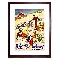 Winter Sport Tyrol Ski Snow Rabbit Bunny Alps Picture Framed Wall Art Print 冬スポーツ雪アルプス画像壁