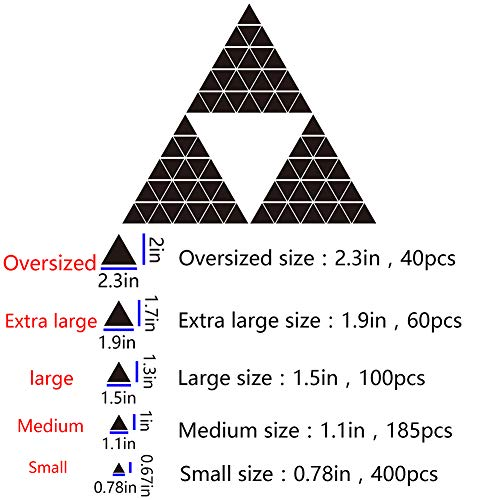 baofengxue 3D Mirror Wall Sticker Triangle Crystal Acrylic Small Triangle Self-Adhesive DIY Combination Removable Baseboard Bedroom Living Room Children's Room Wedding Wall Decoration (Black, Large)