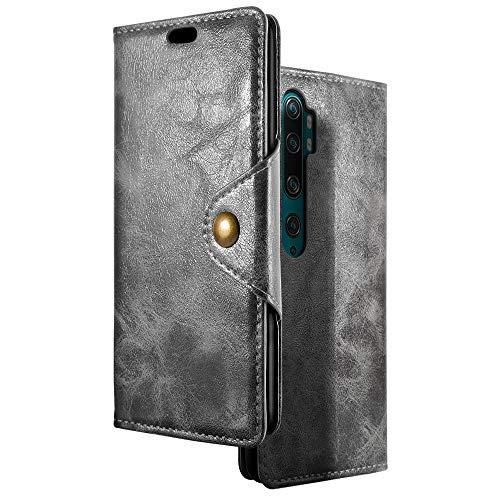 Mi Note 10 ケース【SLEO】クラシックレトロ 全面保護ケース カード収納 PUレザー 折り畳み式 マグネット式 Mi Note 10 / Xiaomi Mi Note 10 Pro ケース スタント機能 手帳型 横開き(グレー)