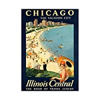 Travel Tourism Chicago Illinois USA Beach Lake City Wall Art Print 旅行観光シカゴアメリカ合衆国ビーチ湖シティ壁