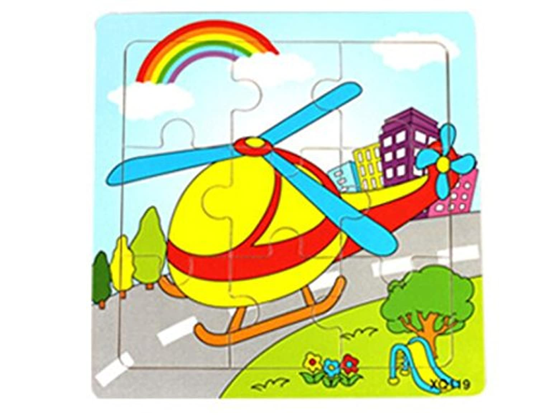 HuaQingPiJu-JP かわいい木製の教育的なパズルアーリーラーニングの数字の形の色の動物のおもちゃ子供のための素晴らしいギフト(飛行機)