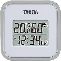 タニタ 温湿度計 温度 湿度 デジタル 壁掛け 時計付き 卓上 マグネット グレー TT-558 GY