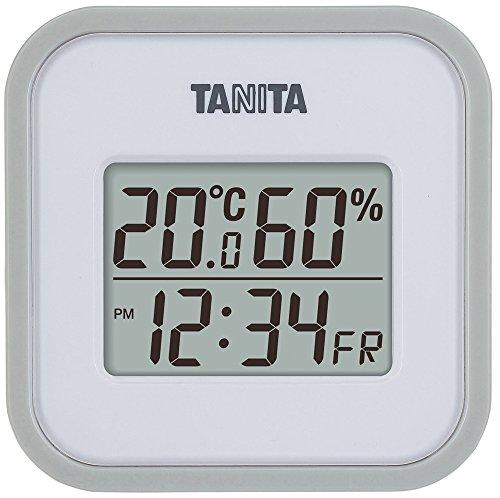 タニタ デジタル温湿度計 置き掛け両用タイプ/マグネット付 グレー TT-558-GY
