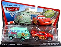 Disney Cars Cars 2 Race Team Fillmore & Lightning McQueen with Travel Wheels Diecast Car 2-Pack [並行輸入品]