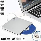 External CD DVD Drive Player for Laptop USB 2.0 Portable Ultra Slim CD DVD ROM Burner Reader for iMac/MacBook Air Laptop PC D