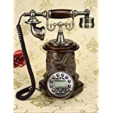Wjvnbah Landline telephone Antique Telephone, Solid Wood High-end Fixed Telephone 18x23x31cm (Color : #5)