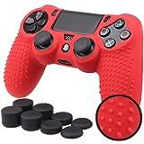PS4 コントローラー用 ちりばめ シリコン スキン ケース 保護カバー x 1 (レッド ) 耐衝撃 高品質 + FPS PRO ティック カバー x 8