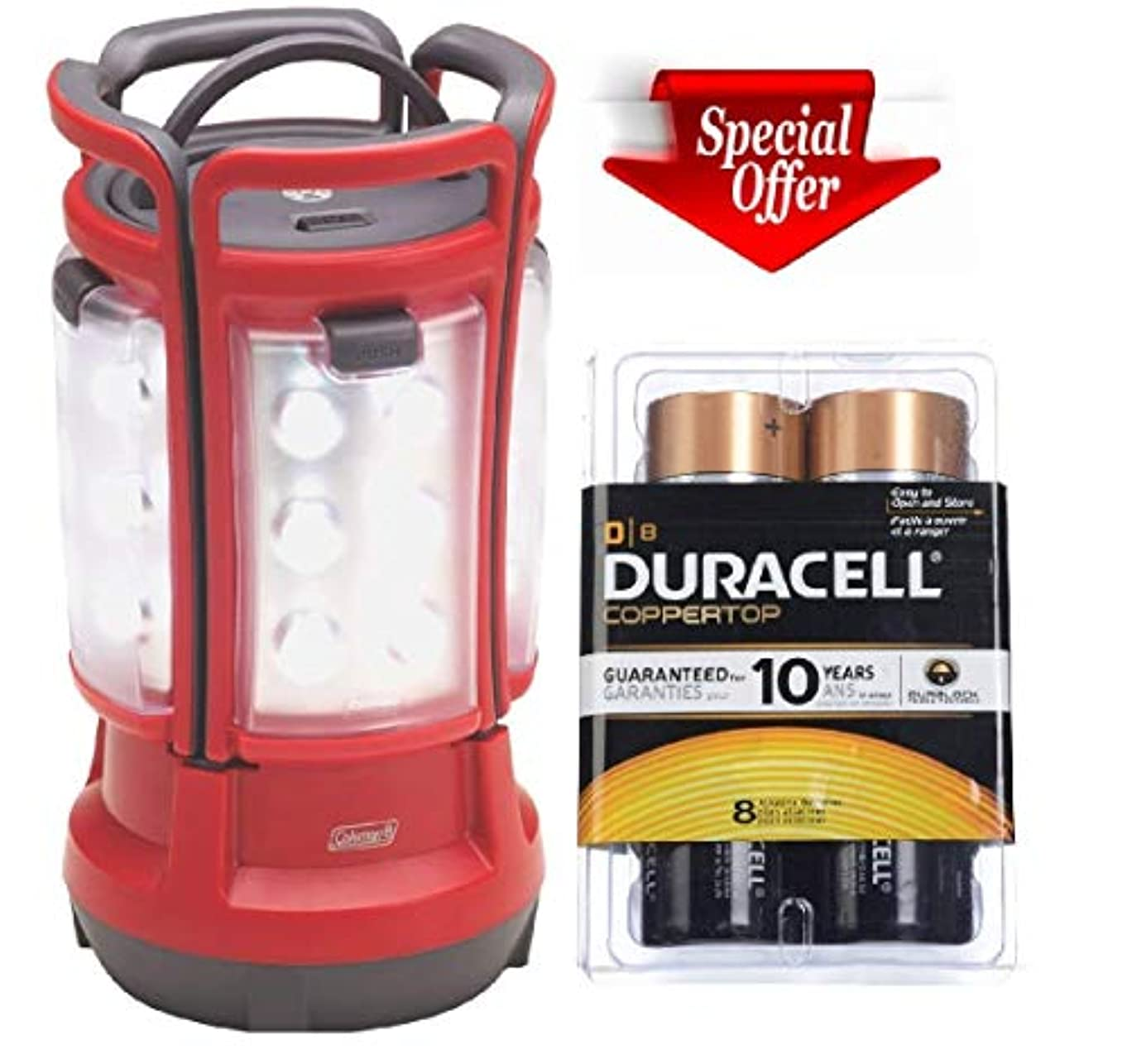 小康ピケ困惑Coleman 8d LED Quad Lantern (4 Lights in One)+duracell Coppertop D Batteries 8 Count