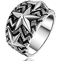 MetJakt パンクロックスターリングソリッド 925 スターリングシルバーのパーソナリティ 5 人のためのヴィンテージ・タイの銀製の宝石類( 9.5 )の星を指摘