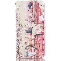 Xperia エクスペリア Z3 Compact ( docomo SO-02G エクスペリアZ3コンパクト ) ケース 手帳型 財布型 綺麗 独特 ユニーク ソフト バック 携帯 ケース 鮮やか おしゃれ ピンク かわいい 桜を見た猫 上絵 カード入れ 財布カバー マグネット開閉式 スタンド機能 液晶保護 フィルム と タッチペン 付き 装着やすい (Xperia Z3 Compact, AC-03)