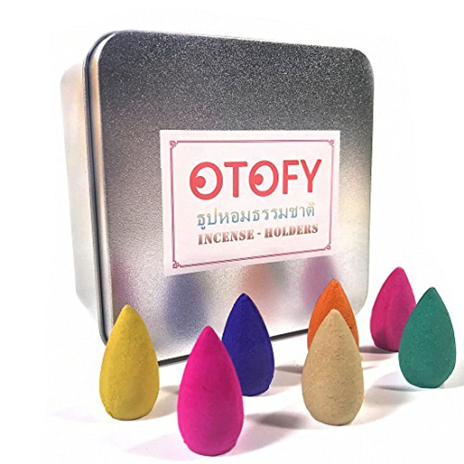 代替キャラクターリング(70 Incense Cones) - OTOFY 70 PCS Backflow Incense Cones Green Tea Incense Osmanthus Jasmine Lavender Rose Sandalwood...