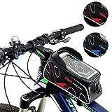 自転車トップチューブバッグ サイクリングフレームバッグ サドルバッグ 収納アクセサリー 防水 かんたん装着 スマホホルダー 6.0インチ対応 iPhone6 6S/Samsung/Sonyなど対応 全4色 (レッド)