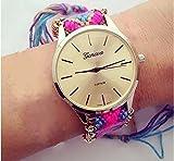 【選べる7色】カラフル ミサンガ ウォッチ ブレスレット 腕時計 バングル 夏 海 おしゃれ ハワイ