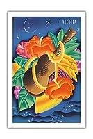 アロハのエッセンス - ハワイの花とフルーツとウクレレ - ビンテージな遠洋定期船のメニューの表紙 によって作成された フランク・マッキントッシュ c.1930s - アートポスター - 61cm x 91cm