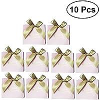 BESTOYARD 10個 リボン付きギフトバック ピンク キャンディーボックス  軽量用 プレゼント 誕生日 結婚式用品 簡単 豪華