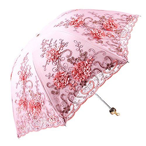 Honeystore日傘折りたたみ完全遮光uvカット率100%レース刺繍立体的な花柄(立体花柄,ピンク(立体))