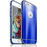 YATATECH iPhone 6/6S (4.7インチ)ケース+アルミニウム メタル フレームバンパー 耐震衝撃吸収 アンチスクラッチ 超高級感 光沢 超薄鏡面 ミラー オシャレ 防塵  アイフォン 6/6S 専用バックケース(ブルー)