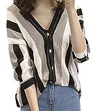 (サコイユ) sakoiyu シャツ トップス レディース 5分袖 ブラウス ストライプ ボタン 春 夏 透け感 大きい おおきい サイズ ビッグ ビック 大きめ おおきめ 大き目 ラージ ウェア ウエア シースルー 袖 (3XL, ブラック)