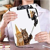 クリップボードメモ型サイズ低プロファイルクリップ 学校・ご家庭・オフィスなど場所おかしい猫はスマートフォンカメラでSelfieを取っています (1個)
