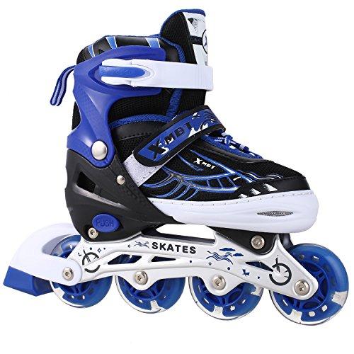 ANCHEER インラインスケート ローラースケートサイズ調整可能 発光 大人 キッズ 子供用 初心者向け メッシュ 通気性抜群 ローラーシューズ ローラーPU