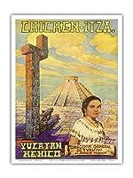 チチェン?イツァ - ユカタン、メキシコ - エルカスティーヨマヤのピラミッド - ビンテージな世界旅行のポスター によって作成された フローレスESPの c.1950s - アートポスター - 23cm x 31cm