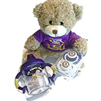 LSU TigersベビーギフトセットBPAフリーno-spill Sippy Cup – 2 LSUおしゃぶりtoxin-free Plush Bear with LSU Hoodie NCAA