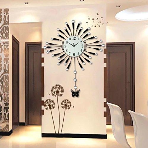 A-KUYA 欧式 ファッション モダン 可愛い蝶 デザイン 振り子時計 石英時計数字時計 掛け時計 壁掛け インテリア ホーム 子供部屋 リビング おしゃれ デジタル 電池式 静音