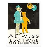 Advert Altwegg Schwab Knit Wool Children Balloon Clothes Art Print Framed Poster Wall Decor 12X16 Inch 広告子供バルーンポスター壁デコ
