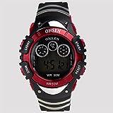 [ACI-NBY] 選べる 5 色 OHSEN 腕時計 メンズ レディース デジタル 表示 多機能 LED ライト 日常生活防水 ストップウォッチ アラーム スポーツ アウトドア カジュアル ウォッチ 腕 時計 (レッド)