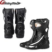 バイク用シューズ、バイクブーツ、レーシングブーツ、ライディングシューズ、バイク用靴、バイクウェア・ブーツ、滑り止めゴム靴底、衝撃防護、通気 (黒, 43(26.5CM))