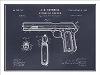 """1902コルト自動拳銃特許印刷アートポスター額なし18"""" x 24"""" (ブラックボード)"""