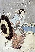 Night Snow Scene at motonoyanagiブリッジJapanese木材カット印刷 24 x 36 Giclee Print LANT-21531-24x36
