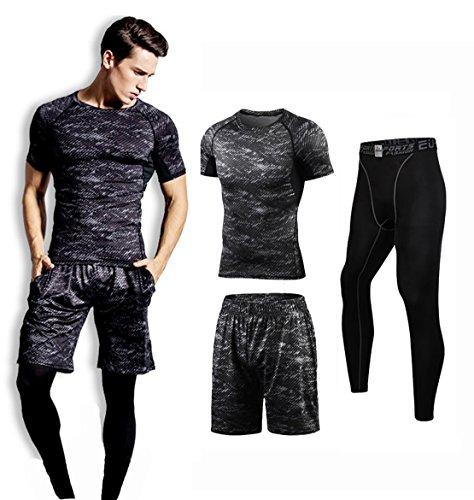 コンプレッション インナー スポーツ Tシャツ セット メンズ グレー S